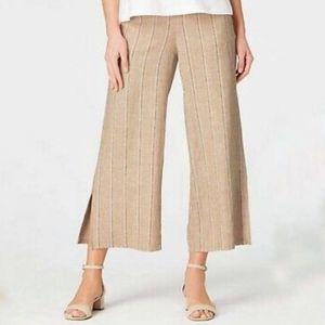J. Jill linen blend wide leg pants crop slit hem